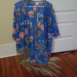 Sheer floral kimono